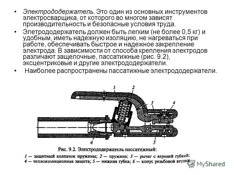 Электрододержатель. Это один из основных инструментов электросварщика, от которого во многом зависят производительность и безопасные условия труда. Элетрододержатель должен быть легким (не более 0,5 кг) и удобным, иметь надежную изоляцию, не нагреват