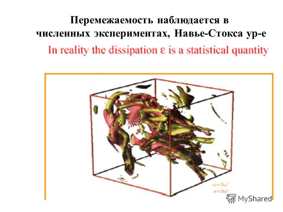 Перемежаемость наблюдается в численных экспериментах, Навье-Стокса ур-е