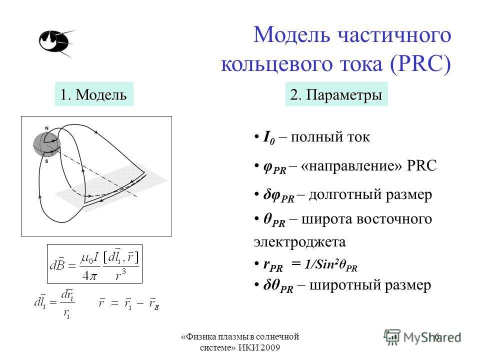«Физика плазмы в солнечной системе» ИКИ 2009 6 Модель частичного кольцевого тока (PRC) I 0 – полный ток φ PR – «направление» PRC δφ PR – долготный размер θ PR – широта восточного электроджета r PR = 1/Sin 2 θ PR δθ PR – широтный размер 2. Параметры 1