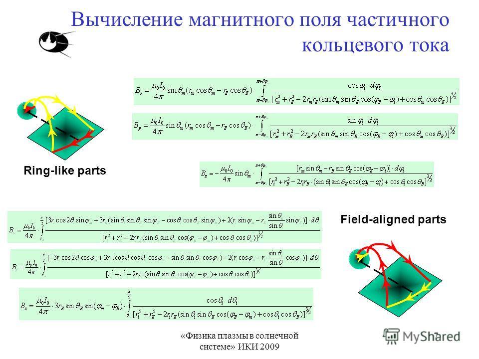 «Физика плазмы в солнечной системе» ИКИ 2009 7 Вычисление магнитного поля частичного кольцевого тока Ring-like parts Field-aligned parts
