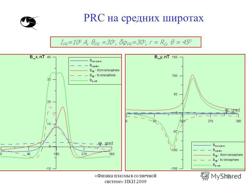 «Физика плазмы в солнечной системе» ИКИ 2009 9 PRC на средних широтах I PR =10 6 A, θ PR =30 о, δφ PR =30 о, r = R E, θ = 45 0