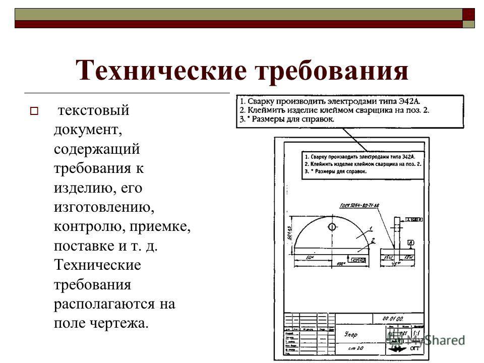 Технические требования текстовый документ, содержащий требования к изделию, его изготовлению, контролю, приемке, поставке и т. д. Технические требования располагаются на поле чертежа.