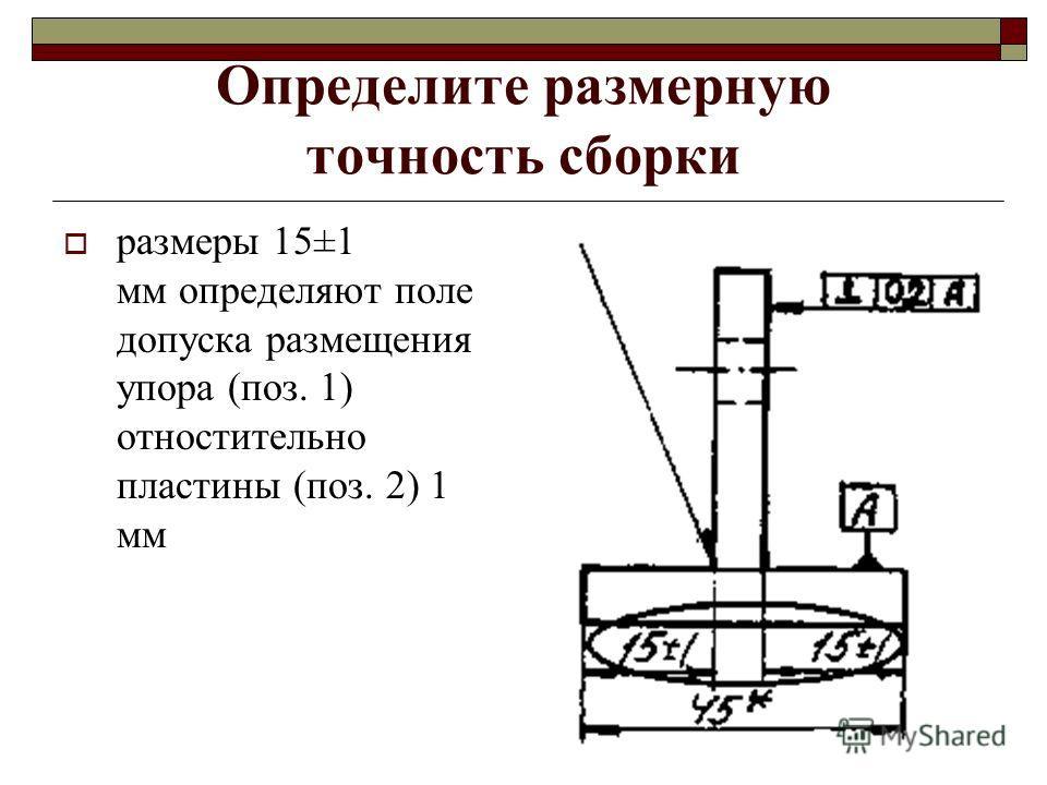 Определите размерную точность сборки размеры 15±1 мм определяют поле допуска размещения упора (поз. 1) отностительно пластины (поз. 2) 1 мм
