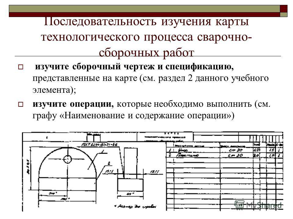 Последовательность изучения карты технологического процесса сварочно- сборочных работ изучите сборочный чертеж и спецификацию, представленные на карте (см. раздел 2 данного учебного элемента); изучите операции, которые необходимо выполнить (см. графу