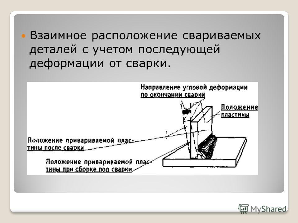 Взаимное расположение свариваемых деталей с учетом последующей деформации от сварки.