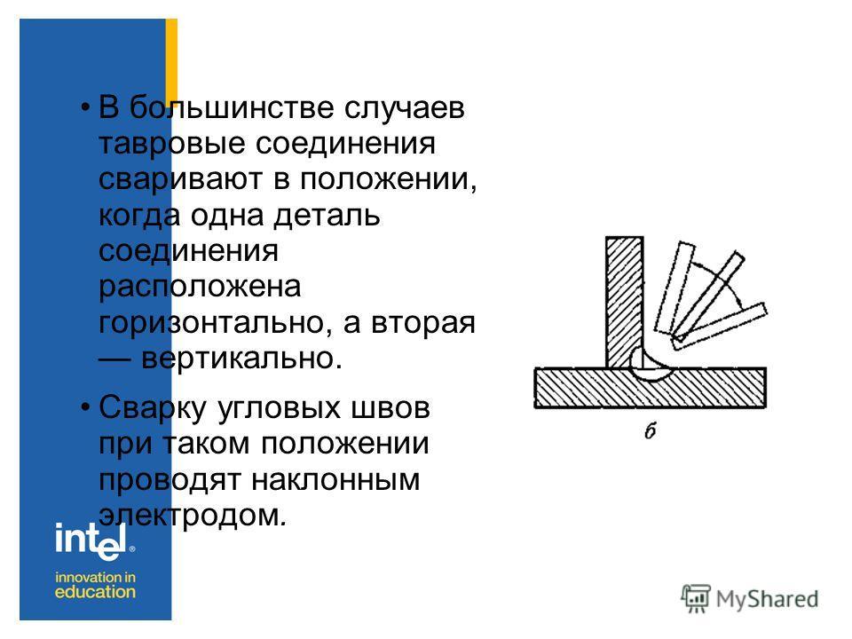 В большинстве случаев тавровые соединения сваривают в положении, когда одна деталь соединения расположена горизонтально, а вторая вертикально. Сварку угловых швов при таком положении проводят наклонным электродом.