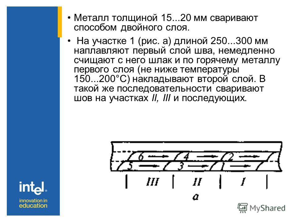 Металл толщиной 15...20 мм сваривают способом двойного слоя. На участке 1 (рис. а) длиной 250...300 мм наплавляют первый слой шва, немедленно счищают с него шлак и по горячему металлу первого слоя (не ниже температуры 150...200°С) накладывают второй