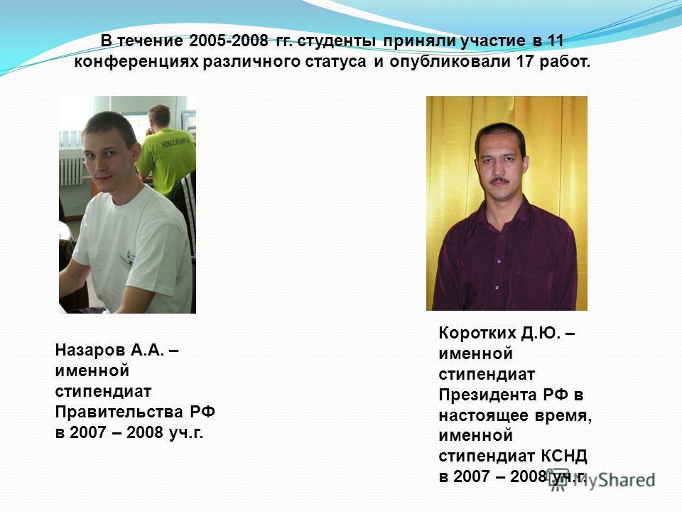 В течение 2005-2008 гг. студенты приняли участие в 11 конференциях различного статуса и опубликовали 17 работ. Назаров А.А. – именной стипендиат Правительства РФ в 2007 – 2008 уч.г. Коротких Д.Ю. – именной стипендиат Президента РФ в настоящее время,