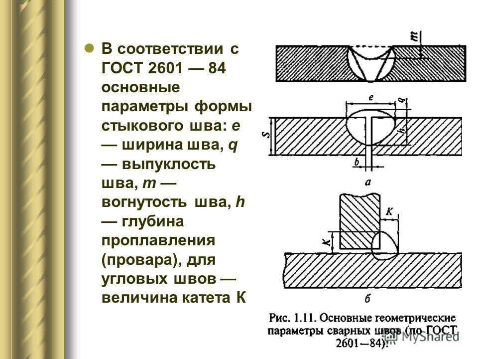 В соответствии с ГОСТ 2601 84 основные параметры формы стыкового шва: е ширина шва, q выпуклость шва, т вогнутость шва, h глубина проплавления (провара), для угловых швов величина катета К