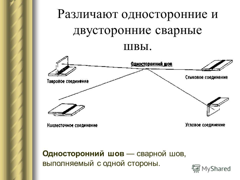 Различают односторонние и двусторонние сварные швы. Односторонний шов сварной шов, выполняемый с одной стороны.