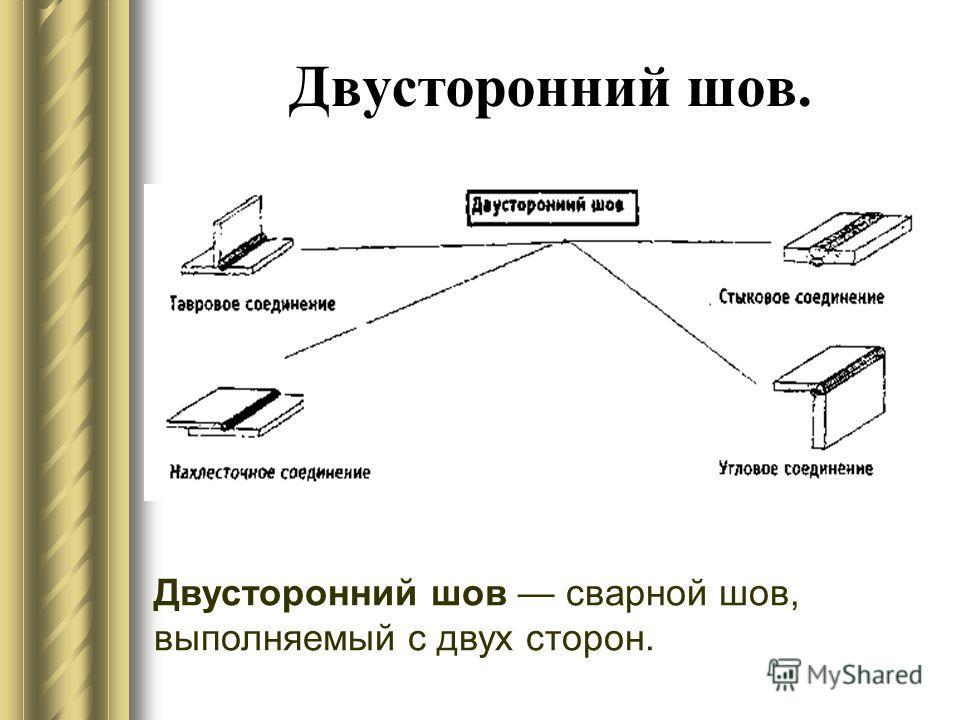 Двусторонний шов. Двусторонний шов сварной шов, выполняемый с двух сторон.