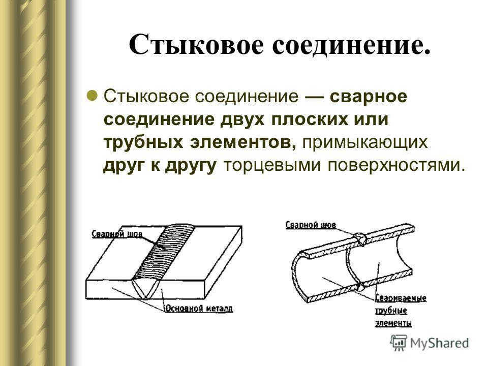 Стыковое соединение. Стыковое соединение сварное соединение двух плоских или трубных элементов, примыкающих друг к другу торцевыми поверхностями.