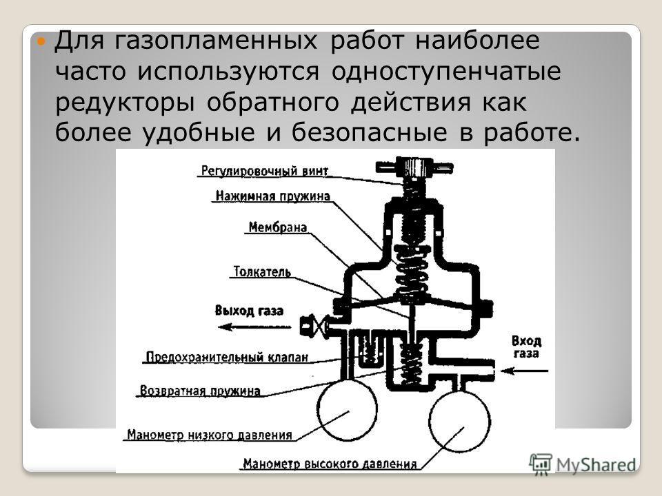 Для газопламенных работ наиболее часто используются одноступенчатые редукторы обратного действия как более удобные и безопасные в работе.
