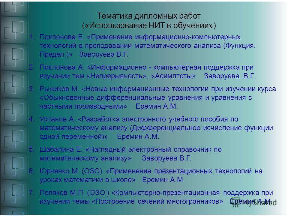Тематика дипломных работ («Использование НИТ в обучении») 1.Поклонова Е. «Применение информационно-компьютерных технологий в преподавании математического анализа (Функция. Предел.)» Заворуева В.Г. 2.Поклонова А. «Информационно - компьютерная поддержк