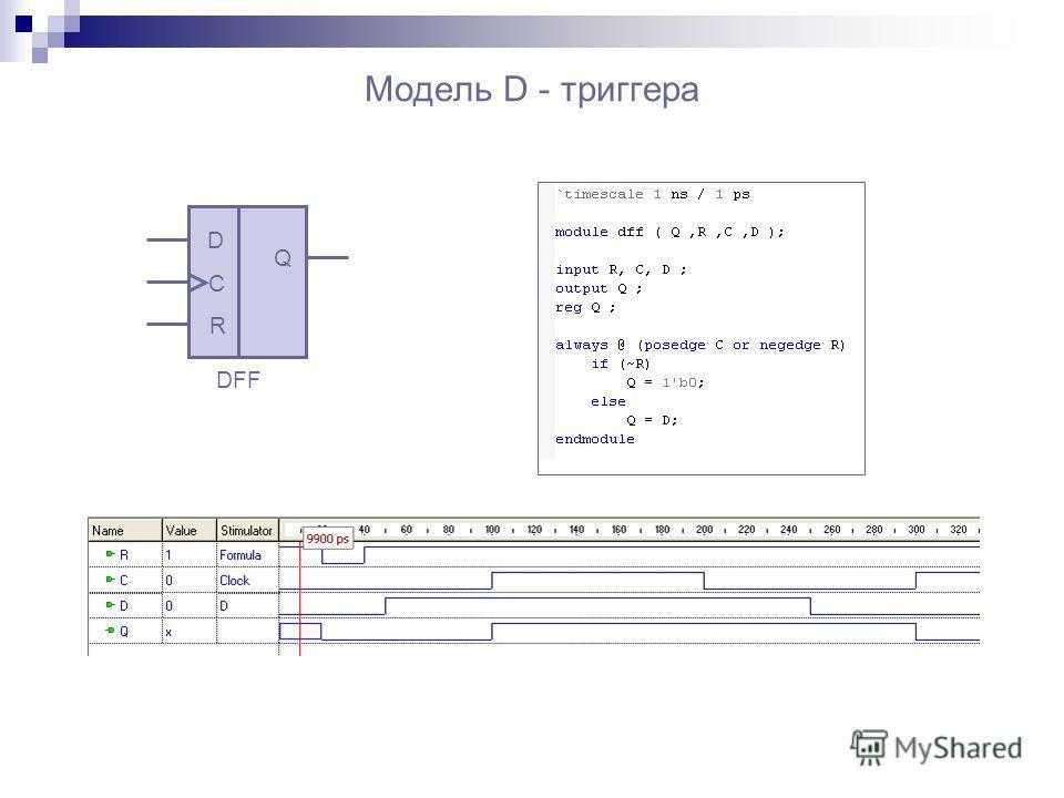 Модель D - триггера D R Q С DFF