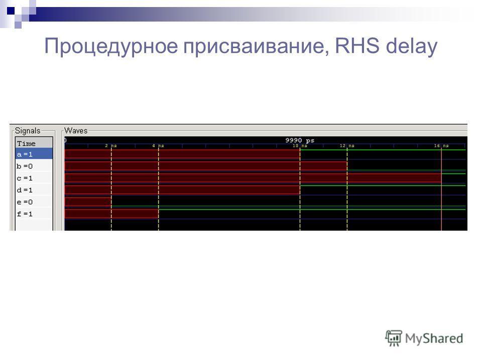 Процедурное присваивание, RHS delay