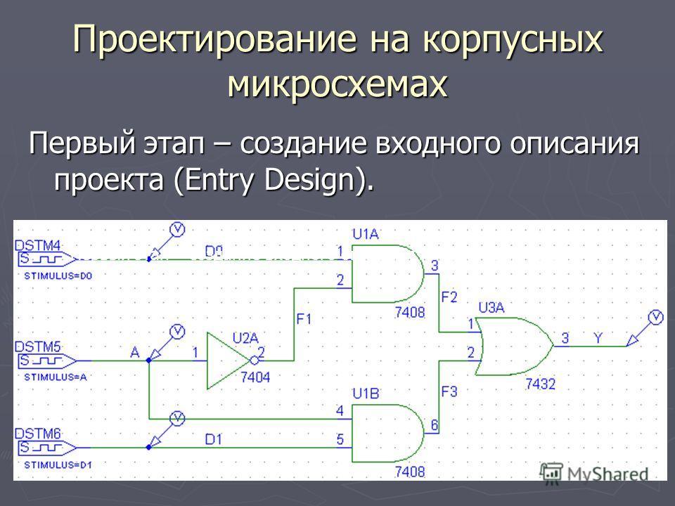 Проектирование на корпусных микросхемах Первый этап – создание входного описания проекта (Entry Design).