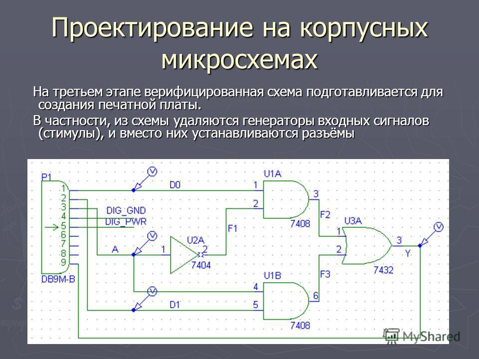 Проектирование на корпусных микросхемах На третьем этапе верифицированная схема подготавливается для создания печатной платы. На третьем этапе верифицированная схема подготавливается для создания печатной платы. В частности, из схемы удаляются генера