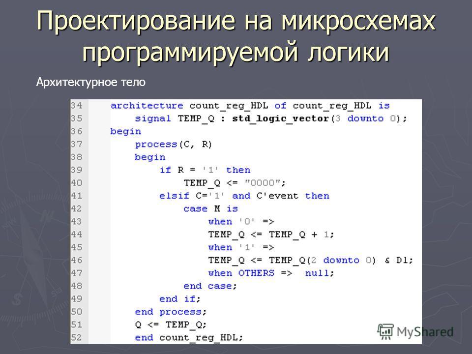 Проектирование на микросхемах программируемой логики Архитектурное тело