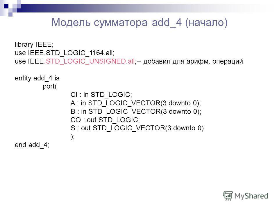 Модель сумматора add_4 (начало) library IEEE; use IEEE.STD_LOGIC_1164.all; use IEEE.STD_LOGIC_UNSIGNED.all;-- добавил для арифм. операций entity add_4 is port( CI : in STD_LOGIC; A : in STD_LOGIC_VECTOR(3 downto 0); B : in STD_LOGIC_VECTOR(3 downto 0