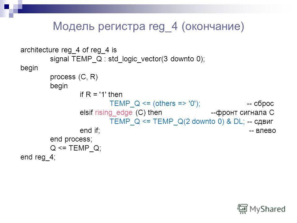 Модель регистра reg_4 (окончание) architecture reg_4 of reg_4 is signal TEMP_Q : std_logic_vector(3 downto 0); begin process (C, R) begin if R = '1' then TEMP_Q '0'); -- сброс elsif rising_edge (C) then --фронт сигнала C TEMP_Q