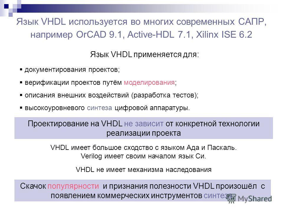 Язык VHDL используется во многих современных САПР, например OrCAD 9.1, Active-HDL 7.1, Xilinx ISE 6.2 Язык VHDL применяется для: документирования проектов; верификации проектов путём моделирования; описания внешних воздействий (разработка тестов); вы