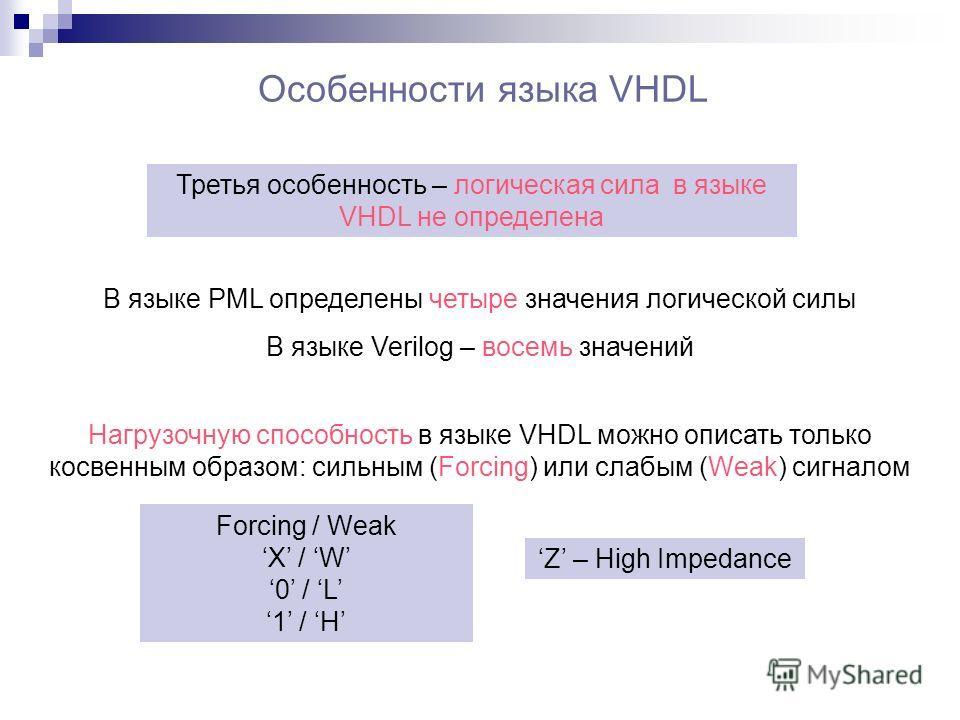 Особенности языка VHDL В языке PML определены четыре значения логической силы В языке Verilog – восемь значений Третья особенность – логическая сила в языке VHDL не определена Нагрузочную способность в языке VHDL можно описать только косвенным образо
