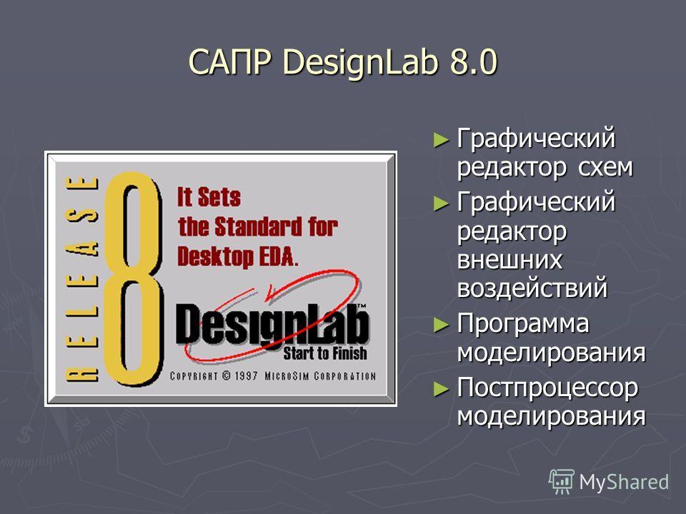 САПР DesignLab 8.0 Графический редактор схем Графический редактор внешних воздействий Программа моделирования Постпроцессор моделирования