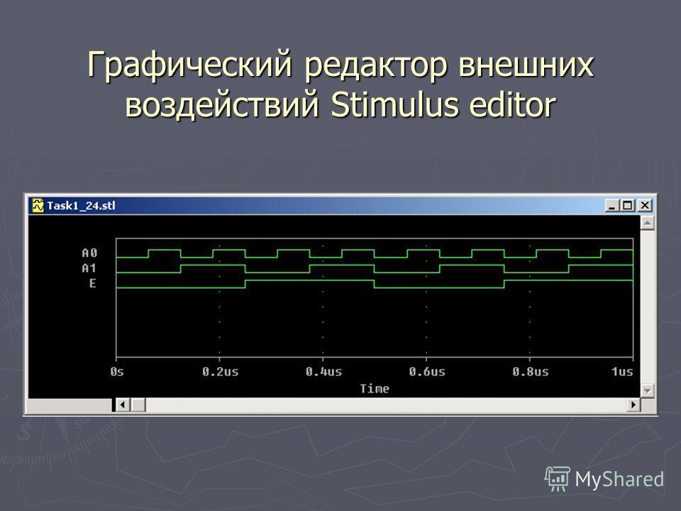 Графический редактор внешних воздействий Stimulus editor