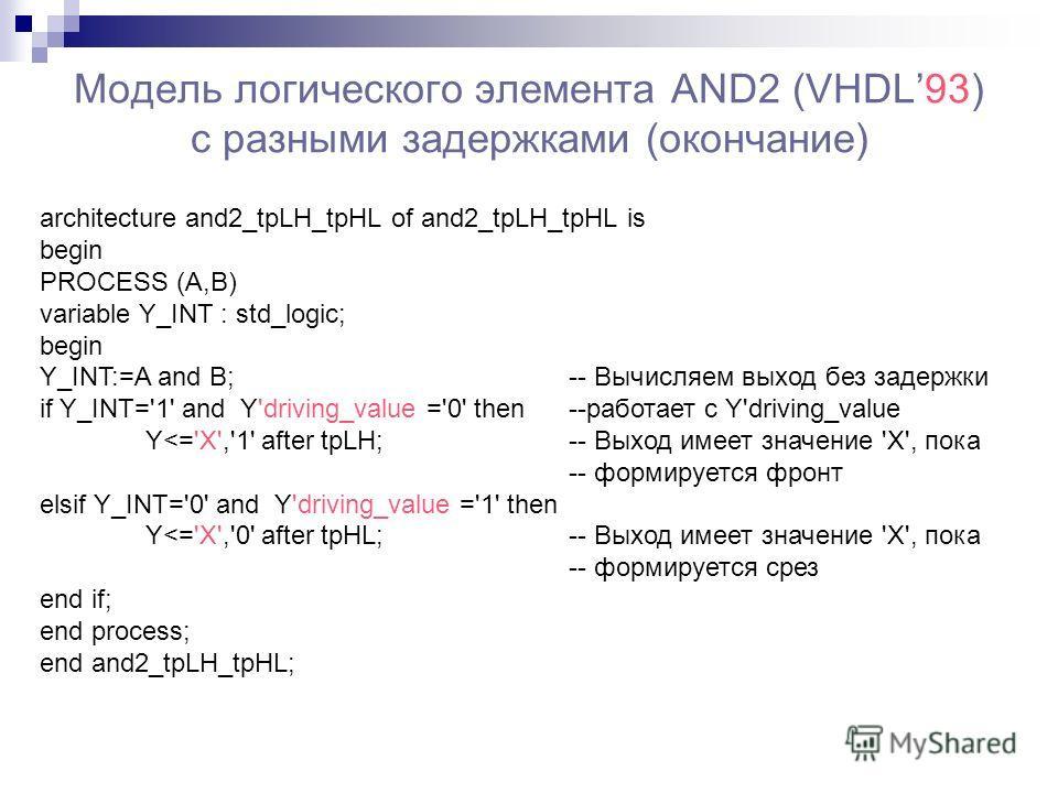 Модель логического элемента AND2 (VHDL93) с разными задержками (окончание) architecture and2_tpLH_tpHL of and2_tpLH_tpHL is begin PROCESS (A,B) variable Y_INT : std_logic; begin Y_INT:=A and B; -- Вычисляем выход без задержки if Y_INT='1' and Y'drivi