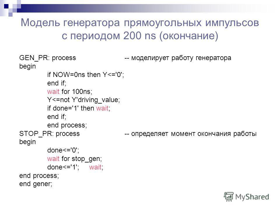 Модель генератора прямоугольных импульсов с периодом 200 ns (окончание) GEN_PR: process -- моделирует работу генератора begin if NOW=0ns then Y