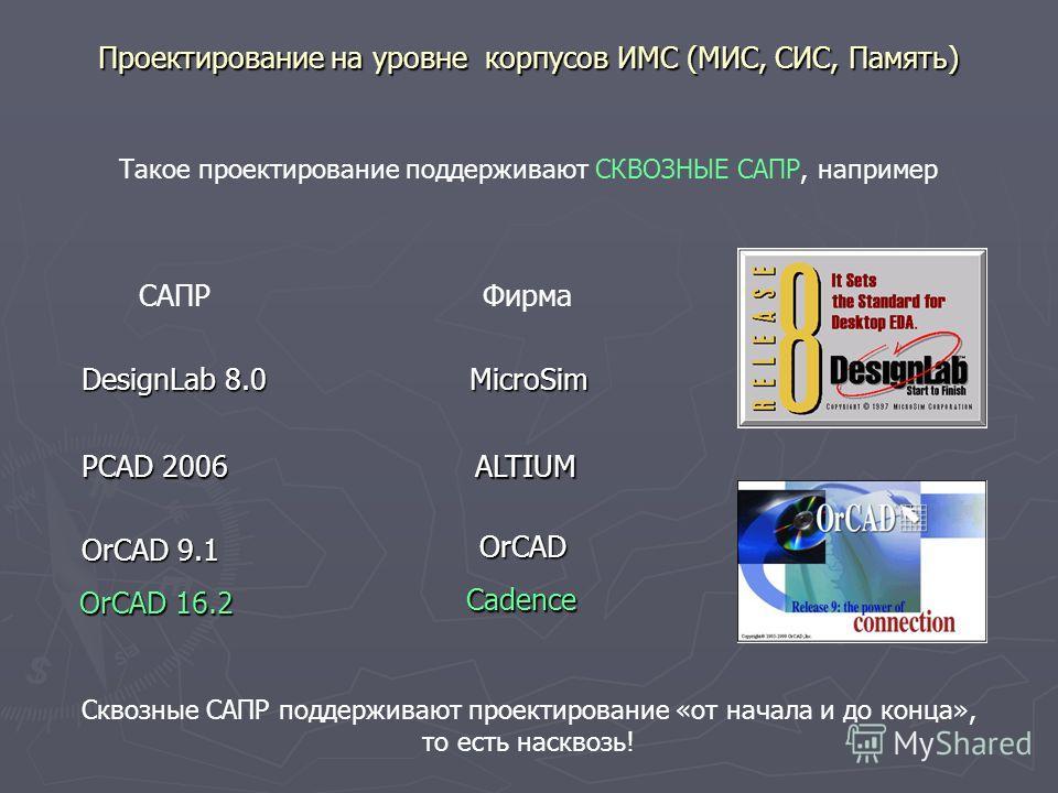 Проектирование на уровне корпусов ИМС (МИС, СИС, Память) Такое проектирование поддерживают СКВОЗНЫЕ САПР, например DesignLab 8.0 САПРФирма MicroSim PCAD 2006 ALTIUM OrCAD 9.1 OrCAD OrCAD 16.2 Cadence Сквозные САПР поддерживают проектирование «от нача