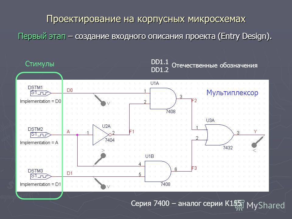 Проектирование на корпусных микросхемах Первый этап – создание входного описания проекта (Entry Design). DD1.1 DD1.2 Отечественные обозначения Стимулы Серия 7400 – аналог серии К155 Мультиплексор
