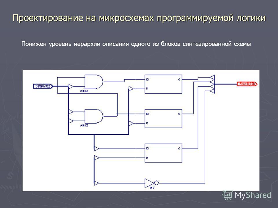 Проектирование на микросхемах программируемой логики Понижен уровень иерархии описания одного из блоков синтезированной схемы