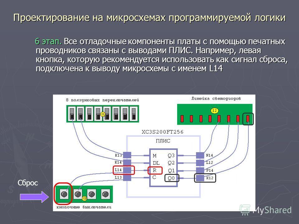 Проектирование на микросхемах программируемой логики 6 этап. Все отладочные компоненты платы с помощью печатных проводников связаны с выводами ПЛИС. Например, левая кнопка, которую рекомендуется использовать как сигнал сброса, подключена к выводу мик