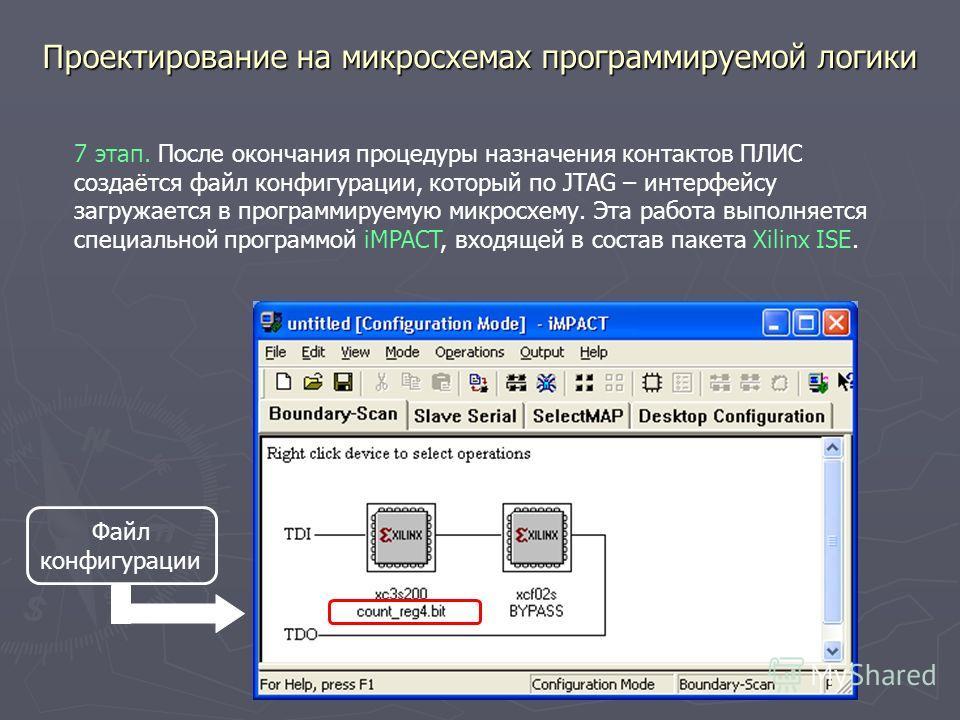 Проектирование на микросхемах программируемой логики 7 этап. После окончания процедуры назначения контактов ПЛИС создаётся файл конфигурации, который по JTAG – интерфейсу загружается в программируемую микросхему. Эта работа выполняется специальной пр
