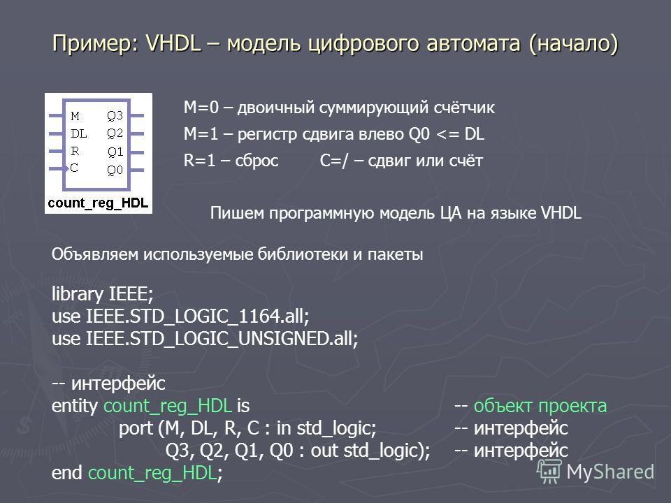Пример: VHDL – модель цифрового автомата (начало) M=1 – регистр сдвига влево Q0