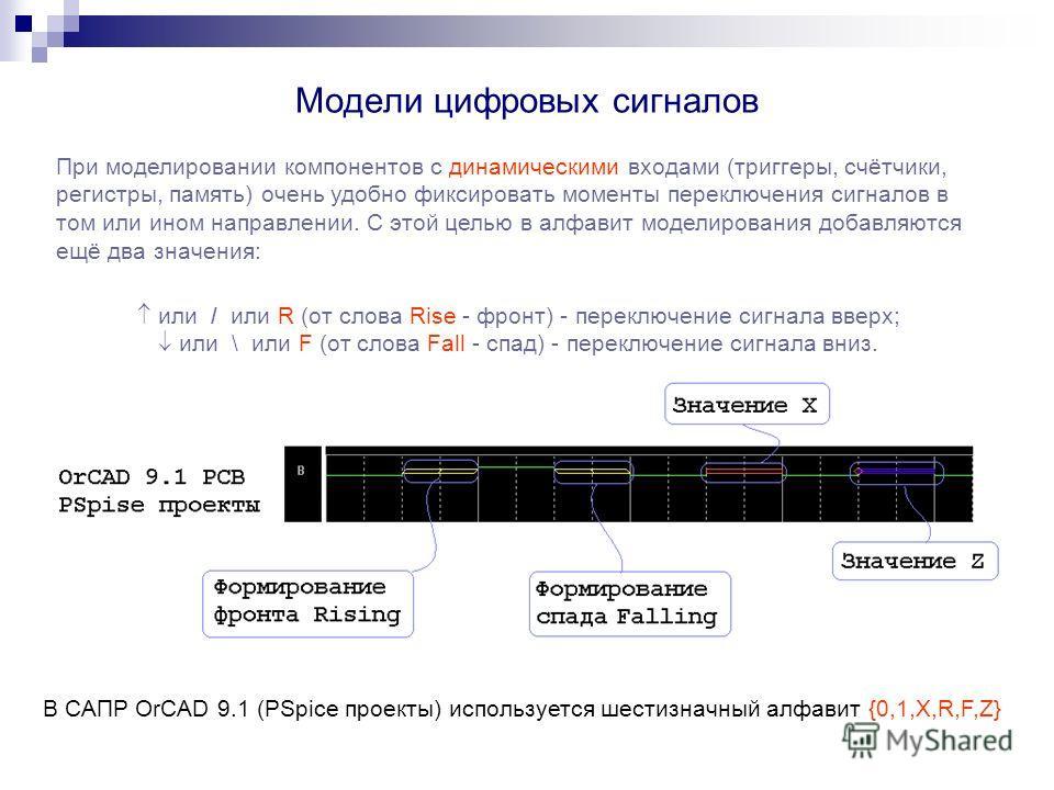 Модели цифровых сигналов При моделировании компонентов с динамическими входами (триггеры, счётчики, регистры, память) очень удобно фиксировать моменты переключения сигналов в том или ином направлении. С этой целью в алфавит моделирования добавляются