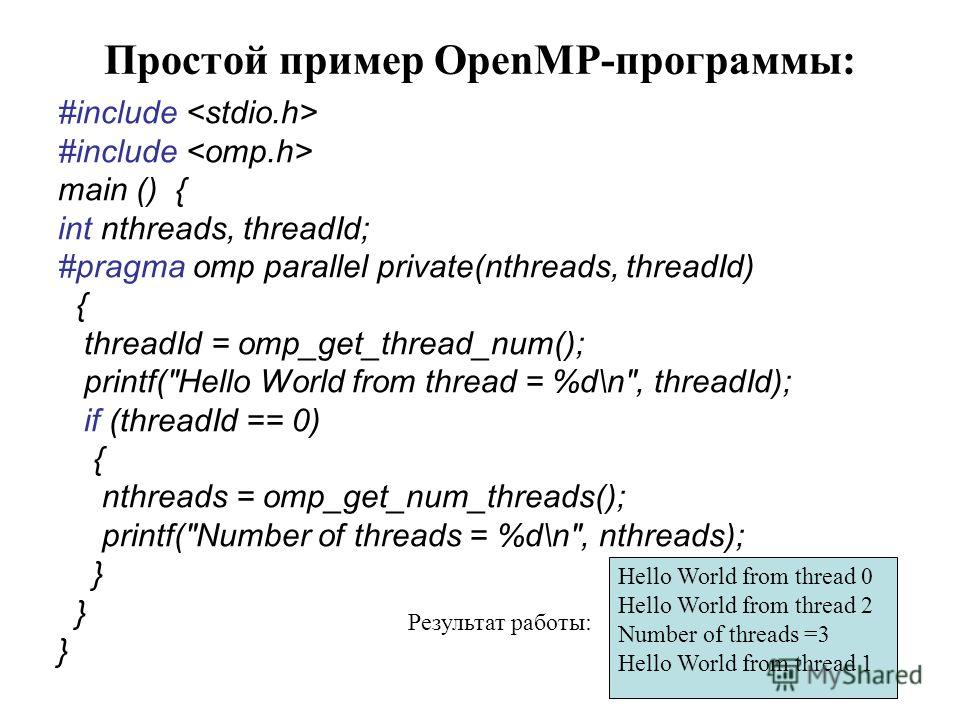 Простой пример OpenMP-программы: #include main () { int nthreads, threadId; #pragma omp parallel private(nthreads, threadId) { threadId = omp_get_thread_num(); printf(