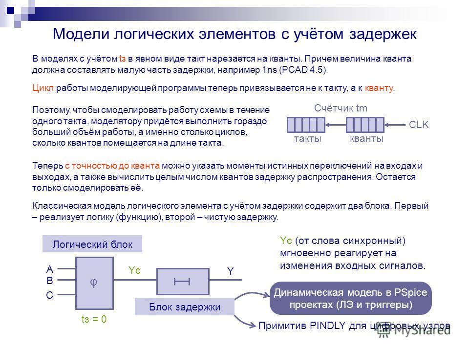 Динамическая модель в PSpice проектах (ЛЭ и триггеры) Модели логических элементов с учётом задержек Поэтому, чтобы смоделировать работу схемы в течение одного такта, моделятору придётся выполнить гораздо больший объём работы, а именно столько циклов,