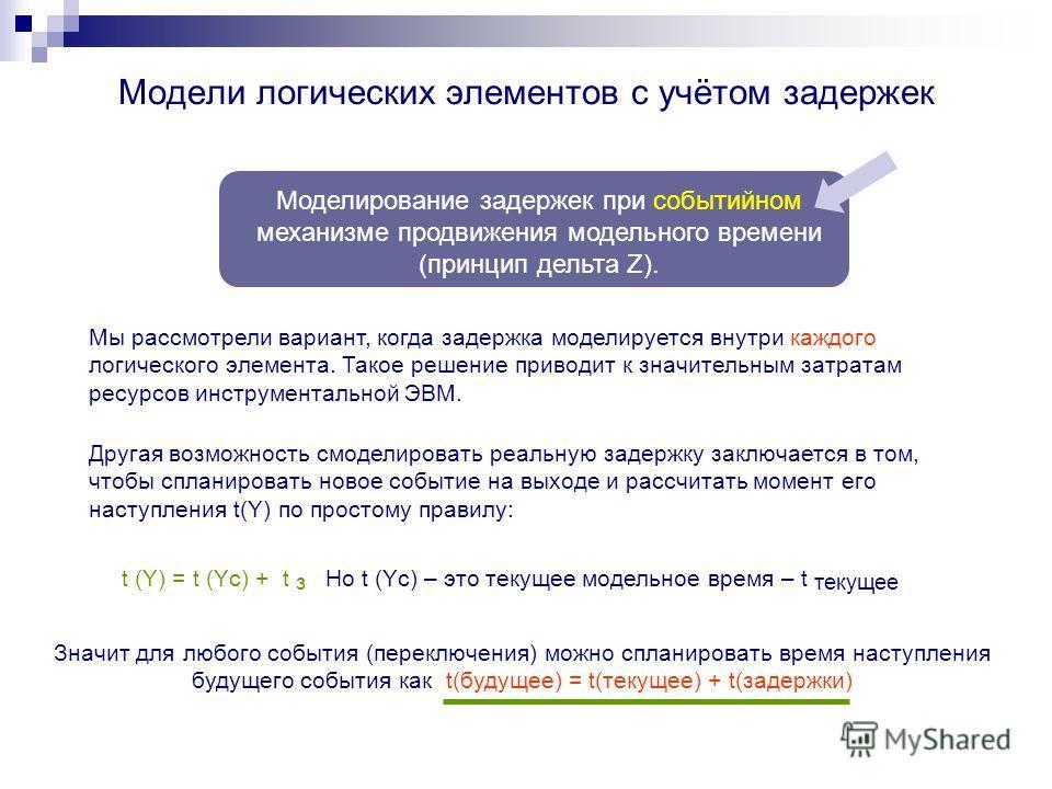 Модели логических элементов с учётом задержек Моделирование задержек при событийном механизме продвижения модельного времени (принцип дельта Z). Мы рассмотрели вариант, когда задержка моделируется внутри каждого логического элемента. Такое решение пр
