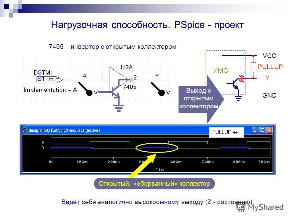 Нагрузочная способность. PSpice - проект 7405 – инвертор с открытым коллектором Ведёт себя аналогично высокоомному выходу (Z - состоянию) Открытый, «оборванный» коллектор Y VCC GND ИМС Выход с открытым коллектором PULLUP