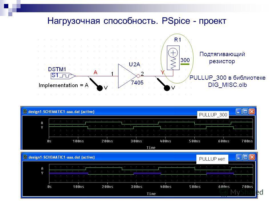 Нагрузочная способность. PSpice - проект PULLUP_300 в библиотеке DIG_MISC.olb Подтягивающий резистор