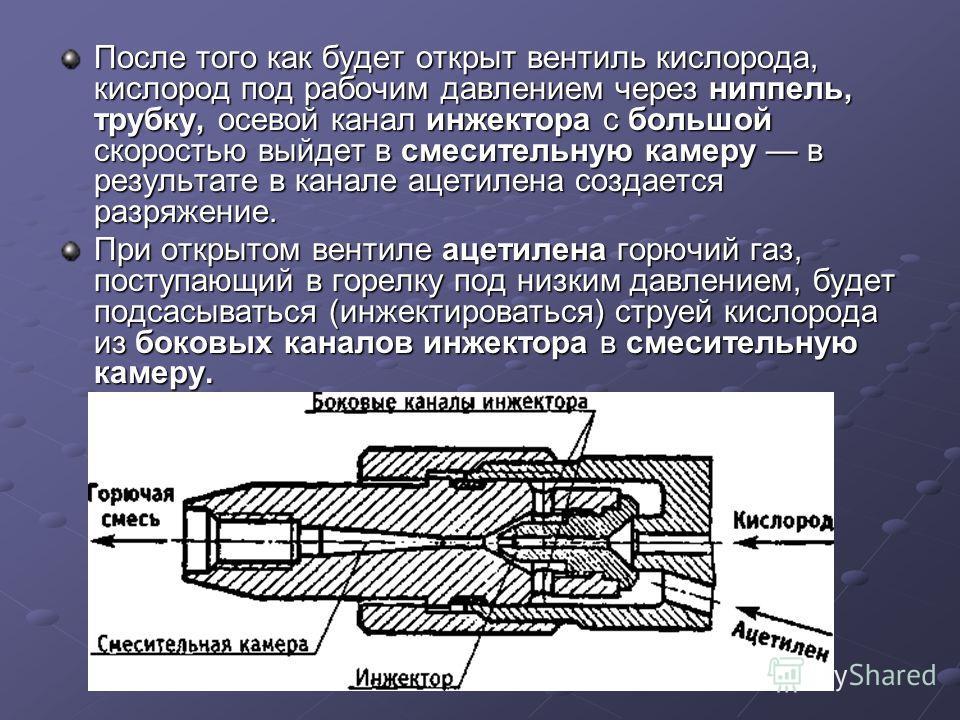 После того как будет открыт вентиль кислорода, кислород под рабочим давлением через ниппель, трубку, осевой канал инжектора с большой скоростью выйдет в смесительную камеру в результате в канале ацетилена создается разряжение. При открытом вентиле ац