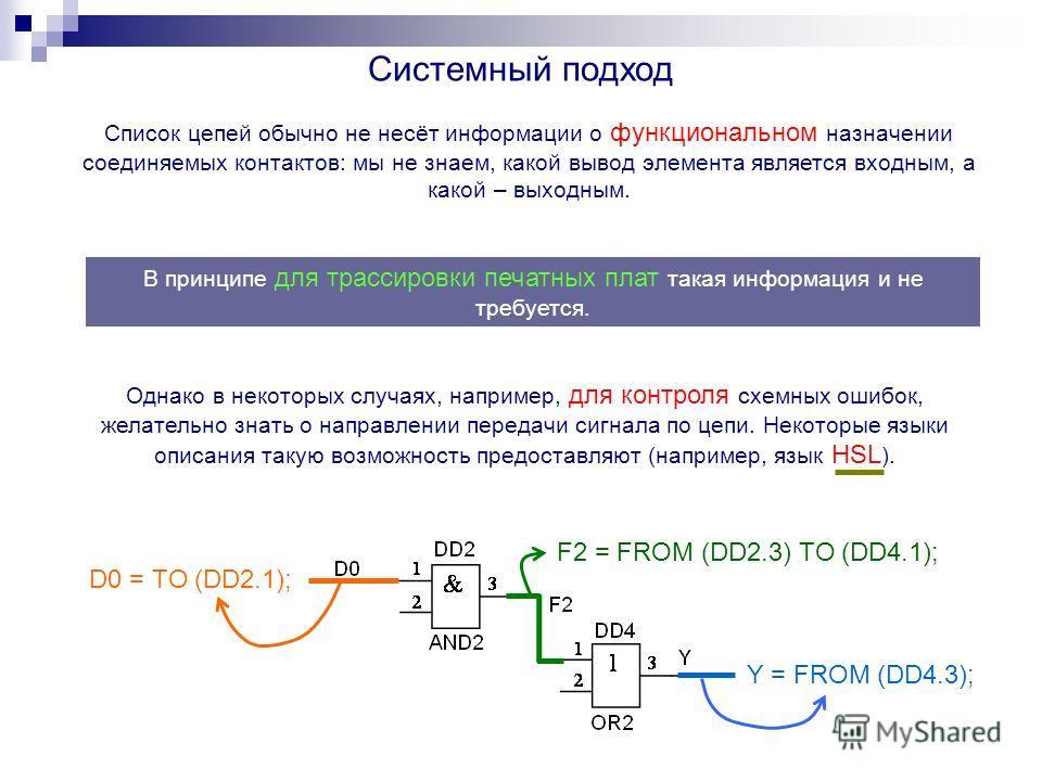 Системный подход Список цепей обычно не несёт информации о функциональном назначении соединяемых контактов: мы не знаем, какой вывод элемента является входным, а какой – выходным. Однако в некоторых случаях, например, для контроля схемных ошибок, жел