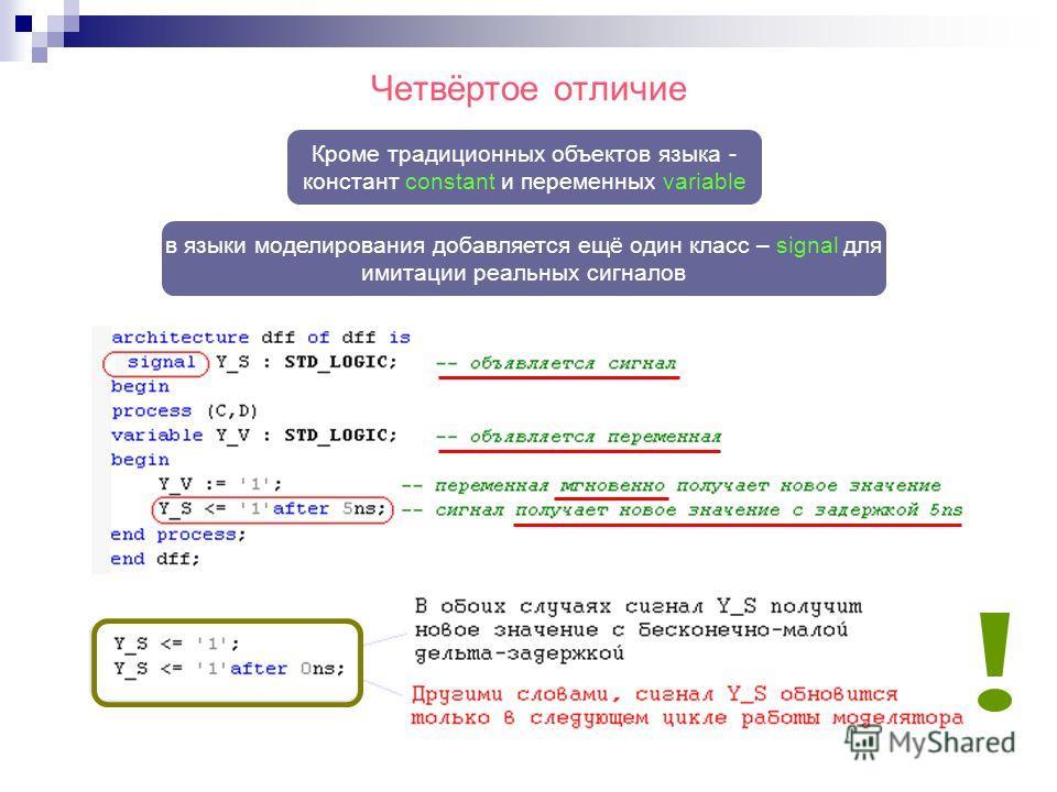 Четвёртое отличие в языки моделирования добавляется ещё один класс – signal для имитации реальных сигналов Кроме традиционных объектов языка - констант constant и переменных variable