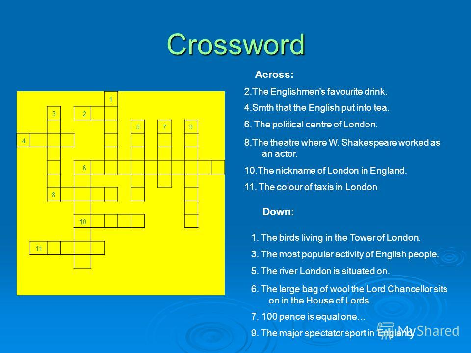 Crossword 1. The birds living in the Tower of London. 3. The most popular activity of English people. 5. The river London is situated on. 6. The large bag of wool the Lord Chancellor sits on in the House of Lords. 7. 100 pence is equal one… 9. The ma