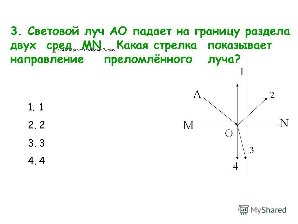 3. Световой луч АО падает на границу раздела двух сред MN. Какая стрелка показывает направление преломлённого луча? 1.1 2.2 3.3 4.4