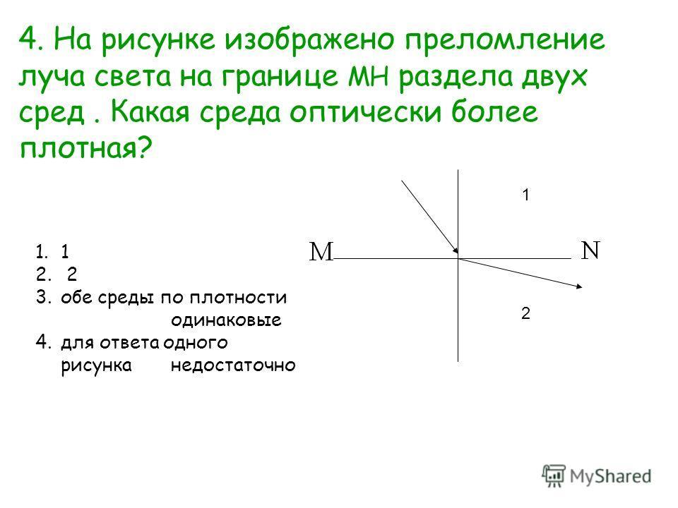 1 2 4. На рисунке изображено преломление луча света на границе МН раздела двух сред. Какая среда оптически более плотная? 1.1 2. 2 3.обе среды по плотности одинаковые 4.для ответа одного рисунканедостаточно