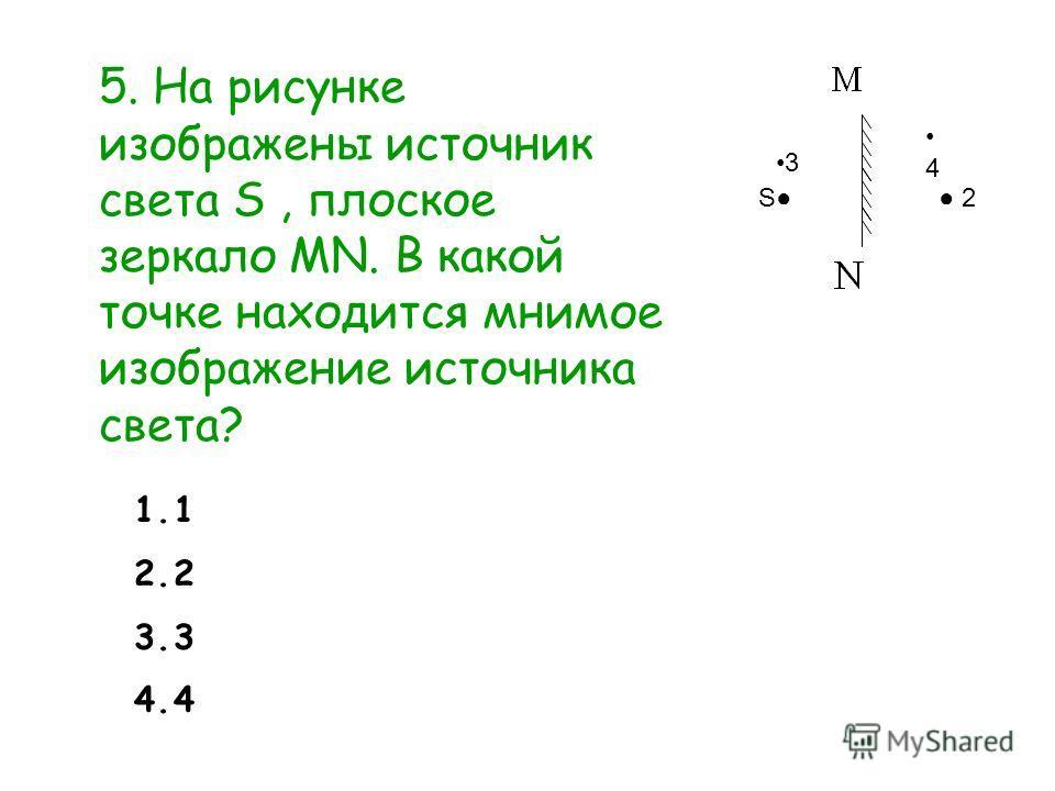 5. На рисунке изображены источник света S, плоское зеркало MN. В какой точке находится мнимое изображение источника света? S 2 4 3 1.1 2.2 3.3 4.4
